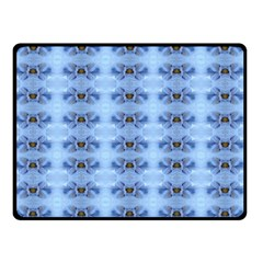 Pastel Blue Flower Pattern Double Sided Fleece Blanket (small)