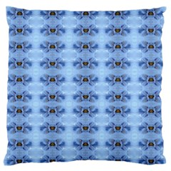 Pastel Blue Flower Pattern Large Flano Cushion Cases (one Side)  by Costasonlineshop