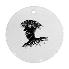 Cool Young Long Hair Man With Glasses Ornament (round)  by dflcprints