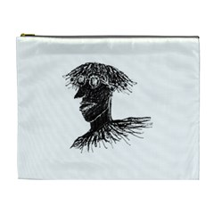 Cool Young Long Hair Man With Glasses Cosmetic Bag (xl) by dflcprints