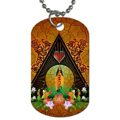 Surfing, Surfboard With Flowers And Floral Elements Dog Tag (one Side) by FantasyWorld7