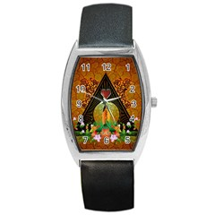 Surfing, Surfboard With Flowers And Floral Elements Barrel Metal Watches by FantasyWorld7