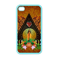 Surfing, Surfboard With Flowers And Floral Elements Apple Iphone 4 Case (color) by FantasyWorld7