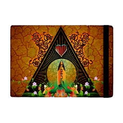 Surfing, Surfboard With Flowers And Floral Elements Apple Ipad Mini Flip Case by FantasyWorld7