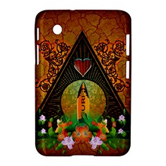 Surfing, Surfboard With Flowers And Floral Elements Samsung Galaxy Tab 2 (7 ) P3100 Hardshell Case  by FantasyWorld7