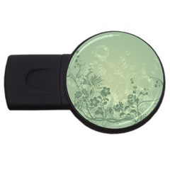 Wonderful Flowers In Soft Green Colors Usb Flash Drive Round (4 Gb)  by FantasyWorld7