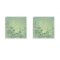 Wonderful Flowers In Soft Green Colors Cufflinks (square) by FantasyWorld7