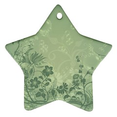 Wonderful Flowers In Soft Green Colors Star Ornament (two Sides)  by FantasyWorld7