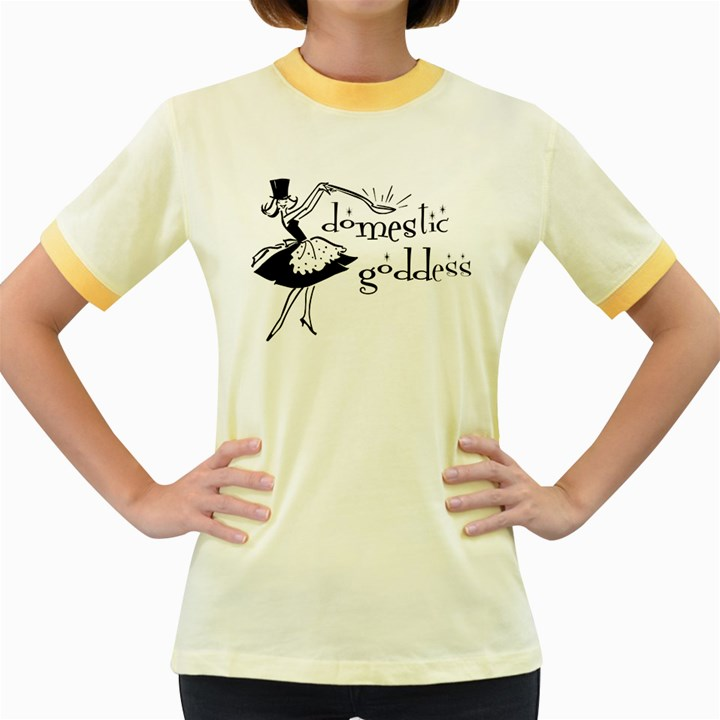 Domestic Goddess Women s Fitted Ringer T-Shirts