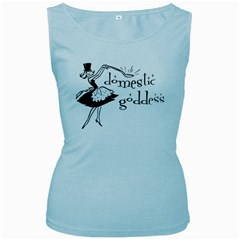 Domestic Goddess Women s Baby Blue Tank Tops