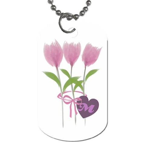 Pink Watercolor Tulips Bouquet Gardener Florist Dog Love By Lucy   Dog Tag (one Side)   Yrc0pvzn643u   Www Artscow Com Front
