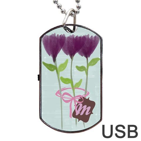 Purple Watercolor Peony Bouquet Gardener Florist Dog By Lucy   Dog Tag Usb Flash (one Side)   76kvuoo19q02   Www Artscow Com Front