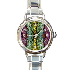 Abstract, Yellow Green, Purple, Tree Trunk Round Italian Charm Watches