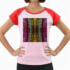 Abstract, Yellow Green, Purple, Tree Trunk Women s Cap Sleeve T Shirt