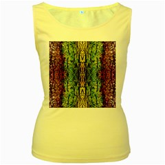 Abstract, Yellow Green, Purple, Tree Trunk Women s Yellow Tank Tops