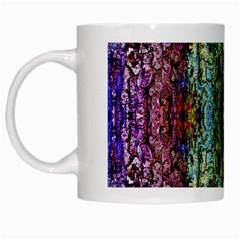 Abstract, Yellow Green, Purple, Tree Trunk White Mugs by Costasonlineshop
