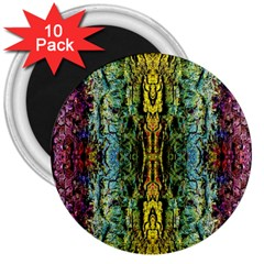 Abstract, Yellow Green, Purple, Tree Trunk 3  Magnets (10 Pack)