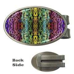 Abstract, Yellow Green, Purple, Tree Trunk Money Clips (oval)