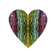 Abstract, Yellow Green, Purple, Tree Trunk Heart Magnet by Costasonlineshop