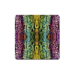 Abstract, Yellow Green, Purple, Tree Trunk Square Magnet by Costasonlineshop