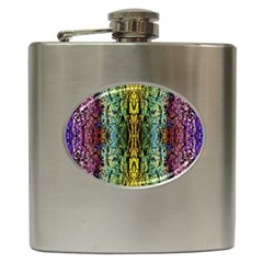 Abstract, Yellow Green, Purple, Tree Trunk Hip Flask (6 Oz) by Costasonlineshop