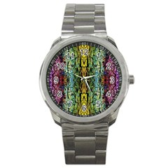 Abstract, Yellow Green, Purple, Tree Trunk Sport Metal Watches by Costasonlineshop