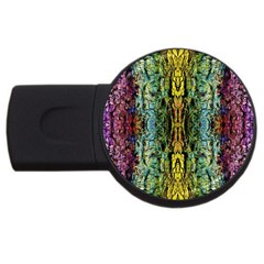 Abstract, Yellow Green, Purple, Tree Trunk Usb Flash Drive Round (4 Gb)