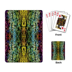 Abstract, Yellow Green, Purple, Tree Trunk Playing Card by Costasonlineshop