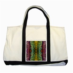 Abstract, Yellow Green, Purple, Tree Trunk Two Tone Tote Bag