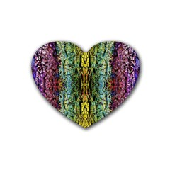 Abstract, Yellow Green, Purple, Tree Trunk Heart Coaster (4 Pack)