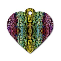 Abstract, Yellow Green, Purple, Tree Trunk Dog Tag Heart (two Sides) by Costasonlineshop