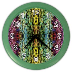 Abstract, Yellow Green, Purple, Tree Trunk Color Wall Clocks