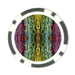 Abstract, Yellow Green, Purple, Tree Trunk Poker Chip Card Guards