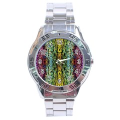 Abstract, Yellow Green, Purple, Tree Trunk Stainless Steel Men s Watch