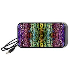 Abstract, Yellow Green, Purple, Tree Trunk Portable Speaker (black)  by Costasonlineshop