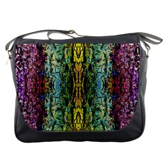 Abstract, Yellow Green, Purple, Tree Trunk Messenger Bags