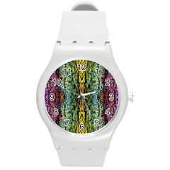 Abstract, Yellow Green, Purple, Tree Trunk Round Plastic Sport Watch (m)