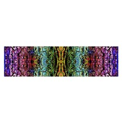 Abstract, Yellow Green, Purple, Tree Trunk Satin Scarf (oblong) by Costasonlineshop