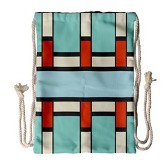 Vertical And Horizontal Rectangles Large Drawstring Bag by LalyLauraFLM