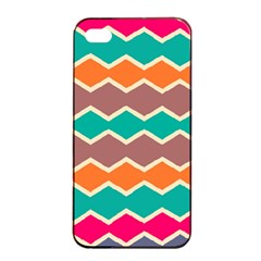 Colorful Chevrons Pattern			apple Iphone 4/4s Seamless Case (black) by LalyLauraFLM