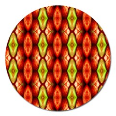 Melons Pattern Abstract Magnet 5  (round) by Costasonlineshop