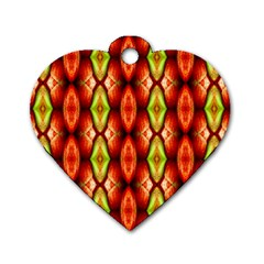 Melons Pattern Abstract Dog Tag Heart (one Side) by Costasonlineshop