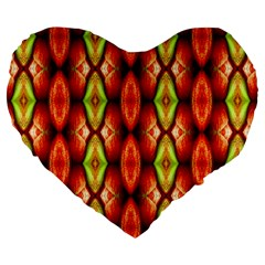 Melons Pattern Abstract Large 19  Premium Flano Heart Shape Cushions