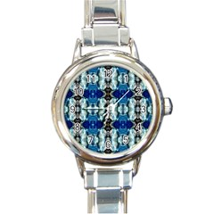 Royal Blue Abstract Pattern Round Italian Charm Watches by Costasonlineshop