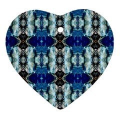 Royal Blue Abstract Pattern Ornament (Heart)  by Costasonlineshop