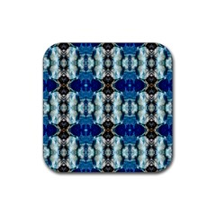 Royal Blue Abstract Pattern Rubber Coaster (square)  by Costasonlineshop