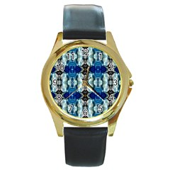 Royal Blue Abstract Pattern Round Gold Metal Watches by Costasonlineshop