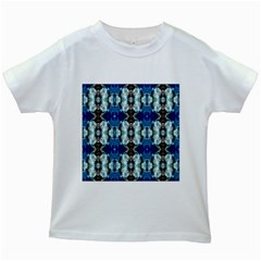 Royal Blue Abstract Pattern Kids White T Shirts