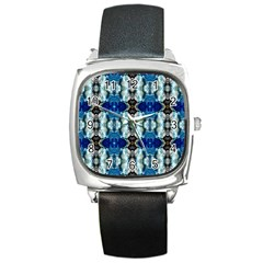 Royal Blue Abstract Pattern Square Metal Watches by Costasonlineshop