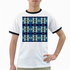 Royal Blue Abstract Pattern Ringer T Shirts by Costasonlineshop